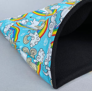 LARGE unicorn snuggle sack. Snuggle pouch/sleeping bag for hedgehogs, guinea pig and other small animals.