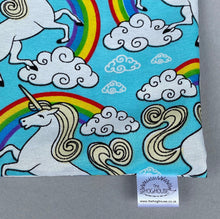 Load image into Gallery viewer, Unicorn snuggle sack, snuggle pouch, sleeping bag for hedgehogs or small guinea pigs. Small animal bedding. Fleece lined.