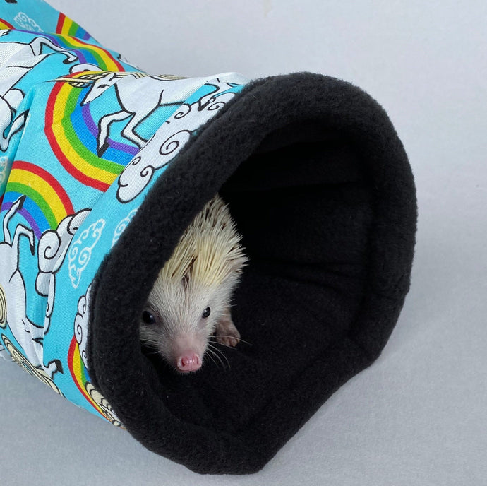 Unicorn stay open tunnel. Padded fleece tunnel. Tube. Padded tunnel for hedgehogs, rats and small pets. Small pet cosy tunnel.