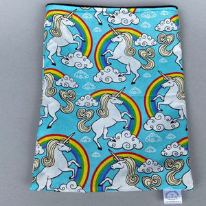 Unicorn snuggle sack, snuggle pouch, sleeping bag for hedgehogs or small guinea pigs. Small animal bedding. Fleece lined.