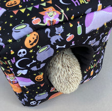 Load image into Gallery viewer, Happy Halloween cosy cube house. Hedgehog and guinea pig padded fleece house.