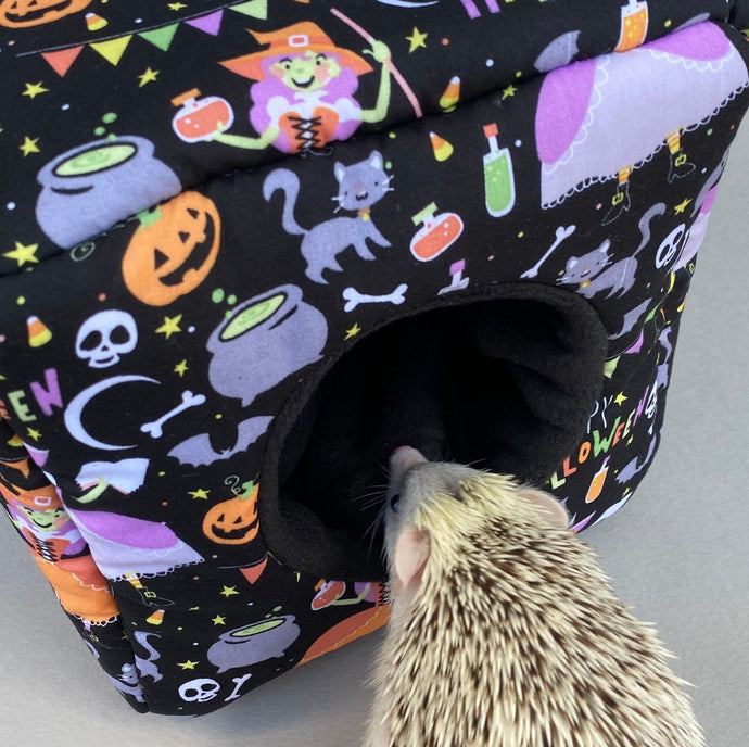 Happy Halloween cosy cube house. Hedgehog and guinea pig padded fleece house.