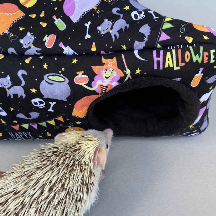 Happy Halloween corner house. Hedgehog padded fleece lined house.