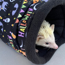 Load image into Gallery viewer, Happy Halloween full cage set. Corner house, snuggle sack, tunnel set