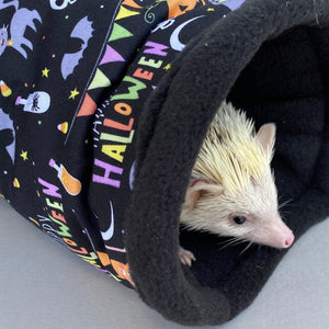 Happy Halloween full cage set. Corner house, snuggle sack, tunnel set