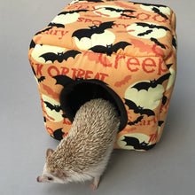 Load image into Gallery viewer, Creepy Halloween cozy cube. Cozy cube house for hedgehogs and small guinea pigs. Halloween hedgehog house.