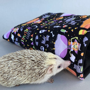 Happy Halloween cosy snuggle cave. Padded stay open hedgehog bed.