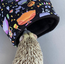 Load image into Gallery viewer, Happy Halloween cosy snuggle cave. Padded stay open hedgehog bed.