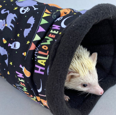 Happy Halloween stay open tunnel. Padded fleece tunnel. Tube.