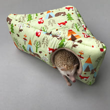 Load image into Gallery viewer, Camping animals full cage set. Corner house, snuggle sack, tunnel cage set.