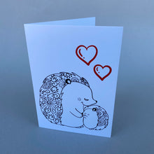 Load image into Gallery viewer, Pack of 6 Hedgehog love cards with 2 Hedgehugs pencils. Valentines card.