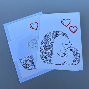 Pack of 6 Hedgehog love cards with 2 Hedgehugs pencils. Valentines card.