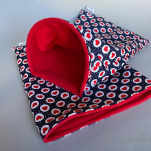 Load image into Gallery viewer, Red heart and navy mini set. Tunnel, snuggle sack and toys. Fleece bedding.