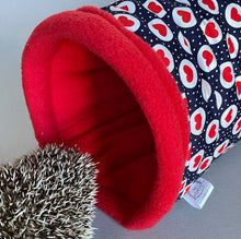 Load image into Gallery viewer, Red heart on navy stay open tunnel. Padded fleece tunnel for hedgehogs and small pets.