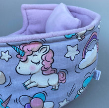 Load image into Gallery viewer, LARGE pastel unicorn cuddle cup. Pet sofa. Guinea pig bed. Pet beds. Fleece bed. Fleece sofa. Pet sofa.