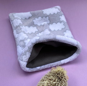 Clouds cuddle fleece snuggle sack, sleeping bag for hedgehogs and small pets.