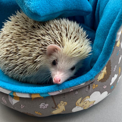 Grey Kite Hedgehog cuddle cup. Pet sofa. Small pet beds. Fleece sofa bed.