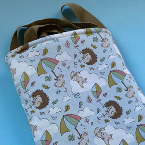Blue Kite Hedgehogs padded bonding bag, carry bag for hedgehog. Fleece lined pet tote.