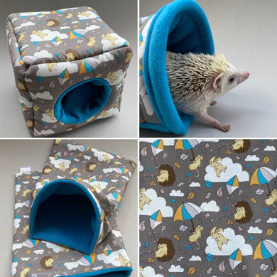 Grey Kite Hedgehog full cage set. House, snuggle sack, tunnel cage set for hedgehog or small pet.