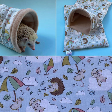 Blue Kite Hedgehog mini set. Tunnel, snuggle sack and toys. Fleece bedding.
