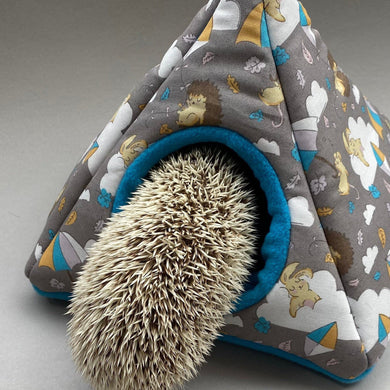 Grey Kite Hedgehog tent house. Hedgehog and small animal house. Padded fleece lined house.