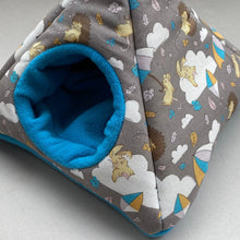 Load image into Gallery viewer, Grey Kite Hedgehog tent house. Hedgehog and small animal house. Padded fleece lined house.