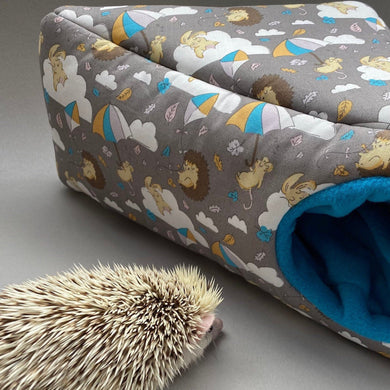 Grey Kite Hedgehog corner house. Hedgehog and small pet cube house. Padded fleece lined house.