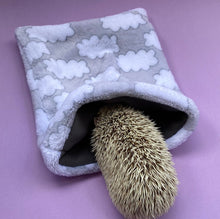 Load image into Gallery viewer, Clouds cuddle fleece snuggle sack, sleeping bag for hedgehogs and small pets.