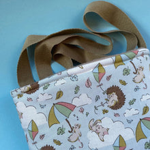 Load image into Gallery viewer, Blue Kite Hedgehogs padded bonding bag, carry bag for hedgehog. Fleece lined pet tote.