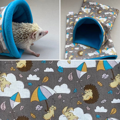 Grey Kite Hedgehog mini set. Tunnel, snuggle sack and toys. Fleece bedding.