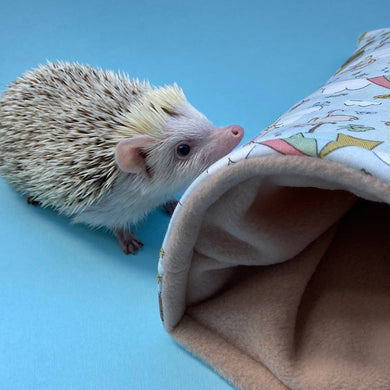 Blue Kite Hedgehog cosy snuggle cave. Padded stay open snuggle sack. Hedgehog bed.