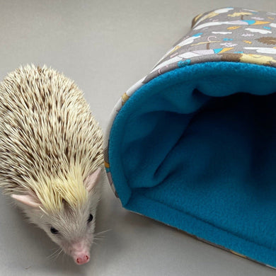 Grey Kite Hedgehog cosy snuggle cave. Padded stay open snuggle sack. Hedgehog bed.