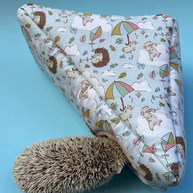 Blue Kite Hedgehog corner house. Hedgehog and small pet cube house.