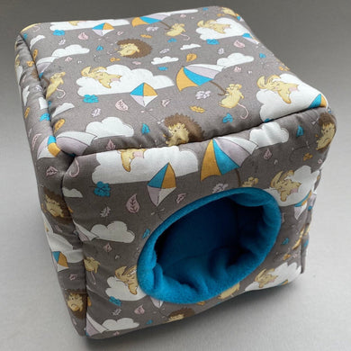 Grey Kite Hedgehog cosy cube house. Hedgehog and guinea pig cube house. Padded fleece lined house.
