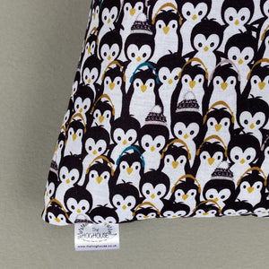 Winter penguin cosy snuggle cave. Padded stay open snuggle sack. Hedgehog bed.