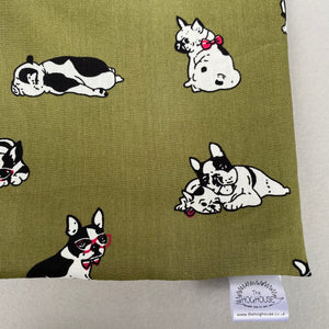 Green dog snuggle sack. Small animal sleeping bag. Fleece lined.
