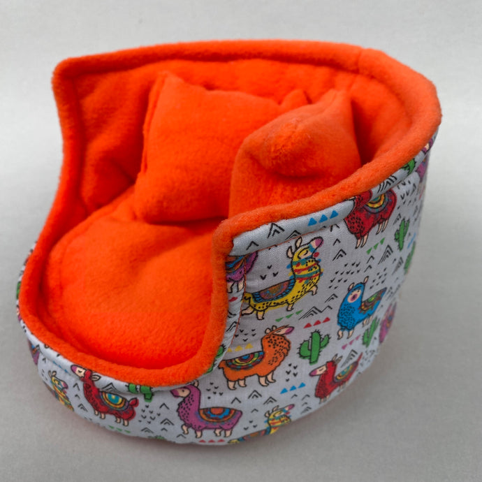 Drama Llama cuddle cup. Pet sofa. Hedgehog and small guinea pig bed. Small pet beds.