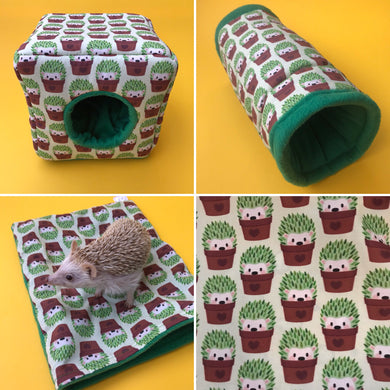 Cactus hedgehog full cage set. Cube house, snuggle sack, tunnel cage set.
