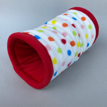 Load image into Gallery viewer, Polka Dot stay open padded fleece tunnel. Padded tunnel for hedgehogs and small pets.