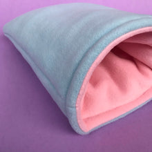 Load image into Gallery viewer, Fleece cosy snuggle cave. Padded stay open cave for hedgehogs. Fleece pet bed.