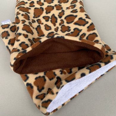 Leopard bath sack set. Fleece post bath drying pouch for small animals.