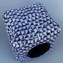 Load image into Gallery viewer, Winter penguin cosy cube house. Hedgehog and guinea pig padded fleece lined house