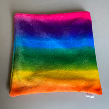 Load image into Gallery viewer, LARGE cuddle soft rainbow snuggle sack. Sleeping bag for hedgehogs and guinea pigs