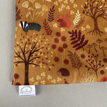 Load image into Gallery viewer, Autumn Forest snuggle sack. Small animal sleeping bag. Fleece lined.