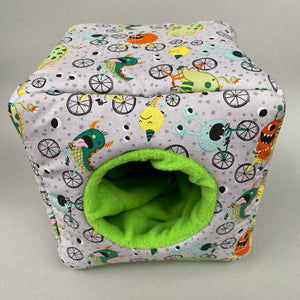 Cycling monsters cosy cube house. Hedgehog and guinea pig padded fleece lined house.