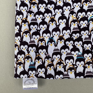 Winter penguin snuggle sack. Small animal sleeping bag. Fleece lined.