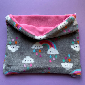 LARGE cuddle soft rainbow snuggle sack. Sleeping bag for hedgehogs and guinea pigs