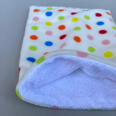 Polka Dot bath sack. Post bath drying pouch for small animals.