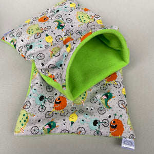 Cycling monsters snuggle sack. Cuddle pouch for hedgehogs and guinea pigs.