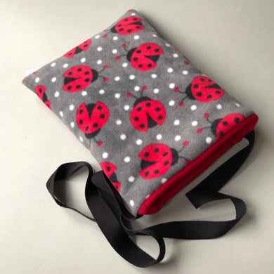Ladybird padded bonding bag, carry bag for hedgehog. Fleece lined pet tote.